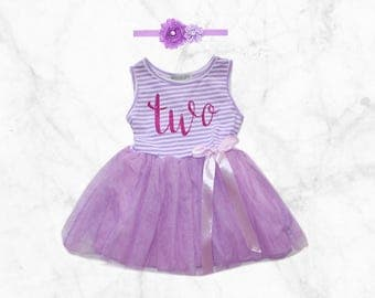 2nd Birthday Tutu Dress, Second bday Purple Party Outfit with matching Headband