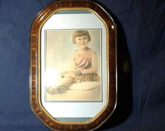Antique Convex Glass Picture Frame, with Picture of a Young Girl