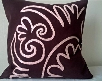 Plum and Rose hand embroidered pillow cover Decorative pillow Accent pillow case Central Asian Tajik Purple pillow