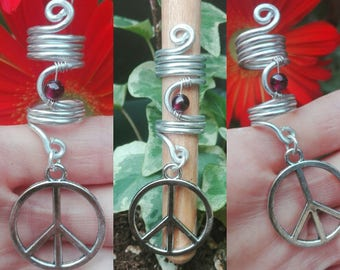 dreads, coils, reel, stones, hair accessories, beauty, boho, owl, peace sign, hippie, jewelry