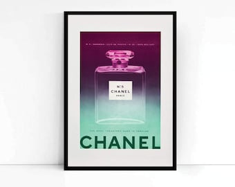 1959 Chanel Number 5 Perfume Advert from a Vintage Vogue Magazine, with modern colour gradient - Vintage Wall Art - Chanel Bottle Art Print