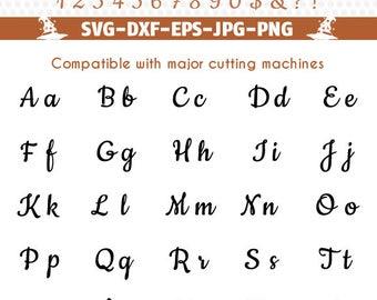 Cookie Script font alphabet, svg font file, Cuttable vinyl letters svg monogram Alphabet download Cricut files svg Silhouette