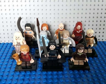 x11 GAME of THRONES Minifigures - Custom Set - Jon Snow Tyrion Lannister Daenerys Khal Drogo Arya Stark White Walker - Lego Compatible
