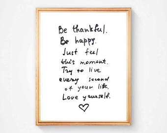 Digital print, Be thankful, quote, printable art, instant download, home decor