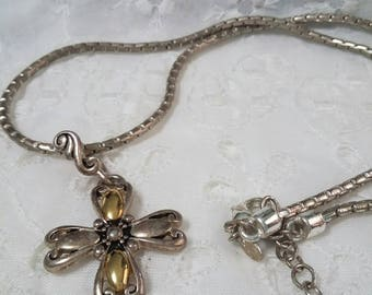 Premier designs Cross pendant necklace silver and gold