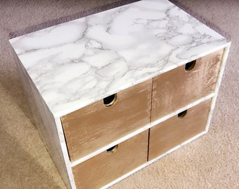 Marble and Gold 4 Drawers Storage