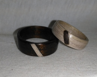 Wenge and Sand Oak his and hers bentwood ring set