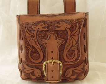 "Leather Belt pouch ""Kite pairs"""
