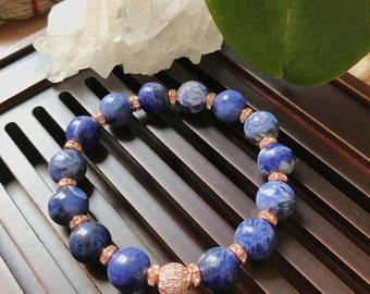 10mm Genuine Sodalite Yoga Mala Beaded Bracelet. Healing natural gemstone bracelet. Stretch bracelet. Boho Bracelet. Wrist Mala.