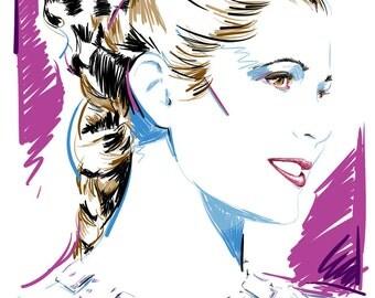The Princess 11 x 17, 18 x 24 & 24 x 36 digital illustration. Poster prints. STAR WARS. A New Hope. Princess Leia. Room decor