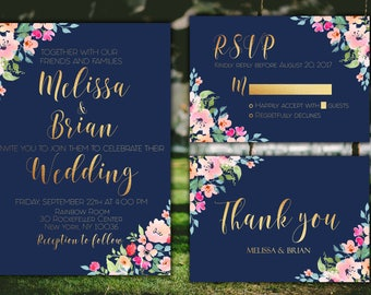 Wedding Invitation Set Printable Wedding Invitation Navy Wedding Invitation Printable Wedding Invitation Floral Wedding Invitation Navy Gold