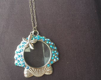 Looking glass pendant necklace - Sea Shell Glass Necklace - Magnifying Glass Pendant Necklace - Sea Shell Pendant Necklace - Nautical Jewel