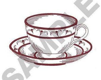 Redwork Tea Cup - Machine Embroidery Design