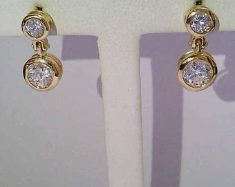 Vintage Estate 14K Yellow Gold Dangle Earrings with Synthetic Stones