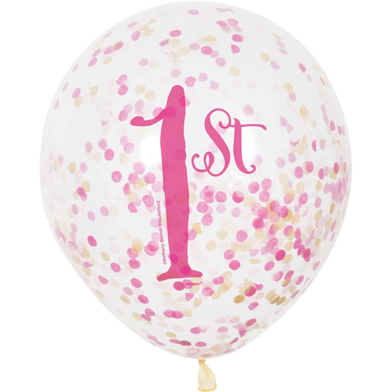 6 Ct First Birthday Balloons 1st Birthday Confetti