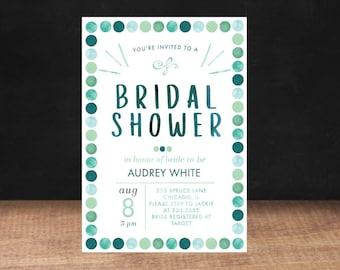 Bridal Shower Invitation, TURQUOISE Bridal Shower Invitation, Shower Invite,Bride To Be, Stationary, Bridal Shower