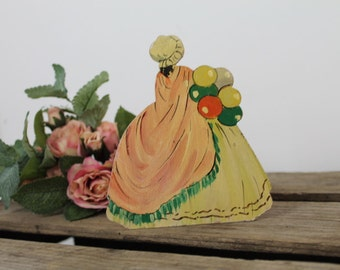 Victorian Fan Stand/ Crinoline Lady with Balloons/Hand Painted Holder/Storage and Organisation/SALE (0023I)