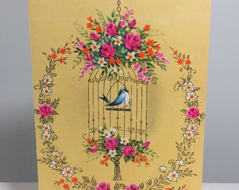 vintage unused greeting card // get well // cheery // flowers // blue bird // cage // feel better soon // yellow // pink