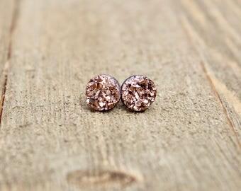 Druzy Earrings.  Rose Gold druzy earrings.  Bridesmaids gift idea.