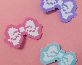 Kawaii Pixel Bow Clips - (3 Colors)