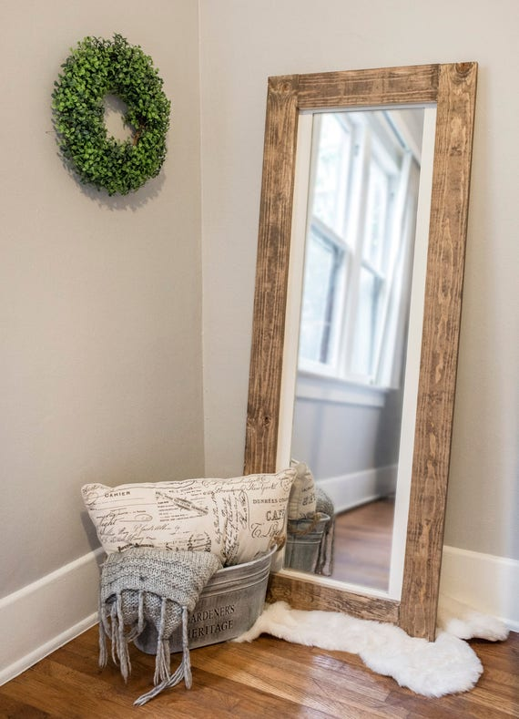 Rustic Floor Mirror Full Length Wooden Frame Mirror