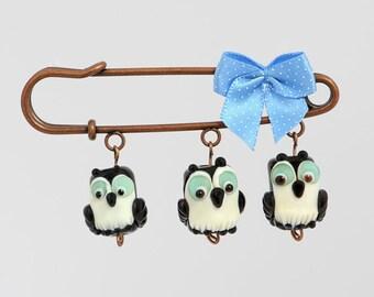 Three Wise Owls Brooch