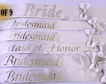 9 Bridesmaid Sashes, 9 Wedding Sashes, Bachelorette Sash, Bachelorette party, Bridesmaids, Bachelorette, Maid of honor, Weddings