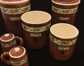 Vintage PY Orchard Ware Wood-grain Roses Canister Set with Salt and Pepper Set