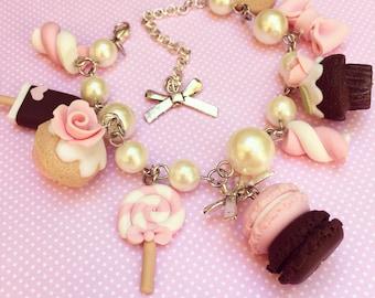 Kawaii OOAK Pastel Bracelet, with Super Cute Charms, Pastel Pink-Chocolate, Miniature Food