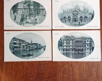 Vintage postcards//Views of Venice// Green rotogravure