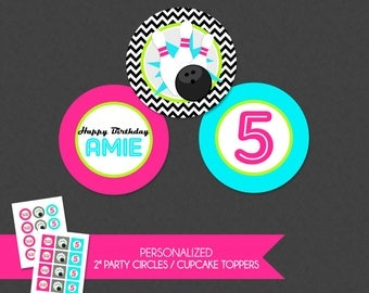 Girly Chevron Neon Retro Bowling 2'' Cupcake Toppers / Birthday Party Circles