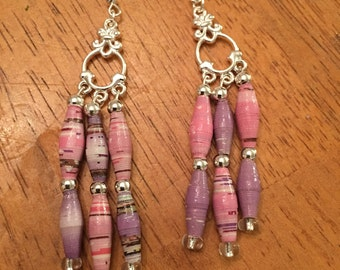 Handmade Paper Bead Dangle Earrings. Pink and Lavender on Silver. Each pair is unique.
