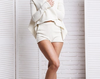 White waterfall cardigan Short knitted jacket mid weight knit