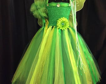 Tinkerbell fairy tutu dress w/matching crown, wand, wings; birthday outfit; fairy costume for girls; green fairy 18-24 mo, 3T/4T, 5/6, 7/8