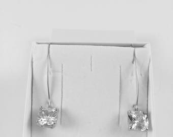 Italian Silver Plated Swarovski Crystal Pendant Earrings.