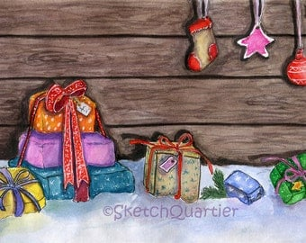 Hand painted watercolor Christmas presents/ Digital clipart for instant download