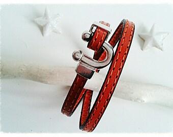 Bracelet doubles tour, stitched leather orange.