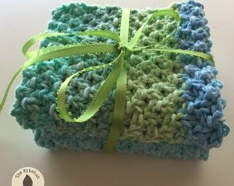 ROBINS'S EGG Hand Knit Bath and Spa Cloths, Set of 2 | Cotton | Blue | eco Friendly | Reusable