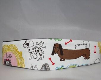 Reversible Headband, Dog Themed, Multi- Colored Fabric, White, Black