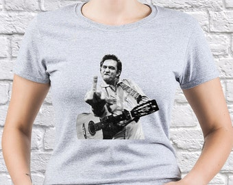 Johnny Cash/ Middle Finger again/ women tshirt/ Johnny Cash fan/ Johnny Cash gift/ Johnny Cash shirt/ Any Occasion Gift/ Best tshirt/ (JC03)