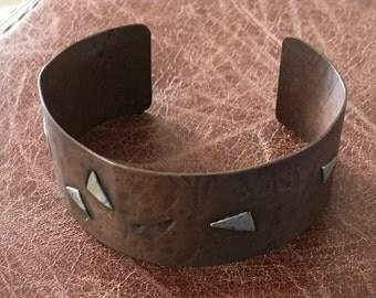 Copper cuff with sterling silver triangles