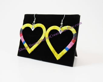 Yellow Quilled Heart Earrings