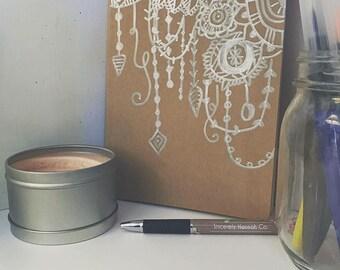 Hand drawn Mandala Design on Kraft Brown Sketch book