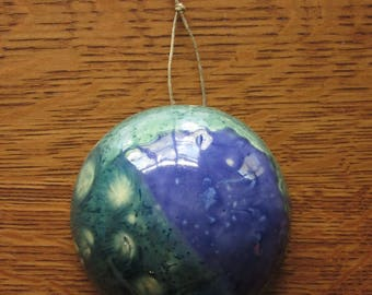 Planet Q921T. Ceramic Pottery Dome,Celestial Body, Outer Space Art,Astonomy Lovers Gift,Galaxy,UFO,Blue Green,Wall Hanging,Decor,Sci-Fi,Men