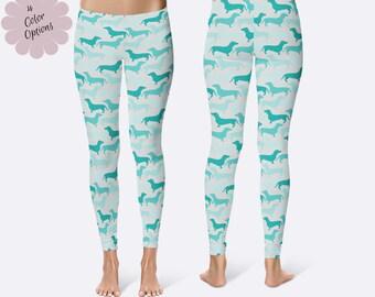 Dachshund Leggings, Ladies Leggings, Dog Leggings, Wienie Dog Leggings, Capri Leggings, Print Leggings, Yoga Pants, Womens Leggings