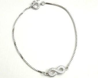Bridal infinity bracelet, Crystal wedding bracelet, CZ charm bracelet bridal bracelet, Crystal jewelry, Bridal bridesmaids, BJ021