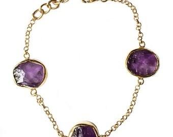 Raw Amethyst bracelet - Rough Amethyst bracelet - Amethyst bracelet - Gemstone bracelet