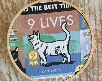 9 Lives embroidery hoop wall hanging
