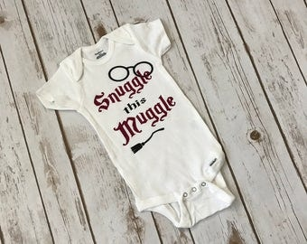 Snuggle This Muggle Harry Potter Onesie Muggle Onesie Custom Onesie Harry Potter Baby Shower Muggle Shirt Personalized Onesie