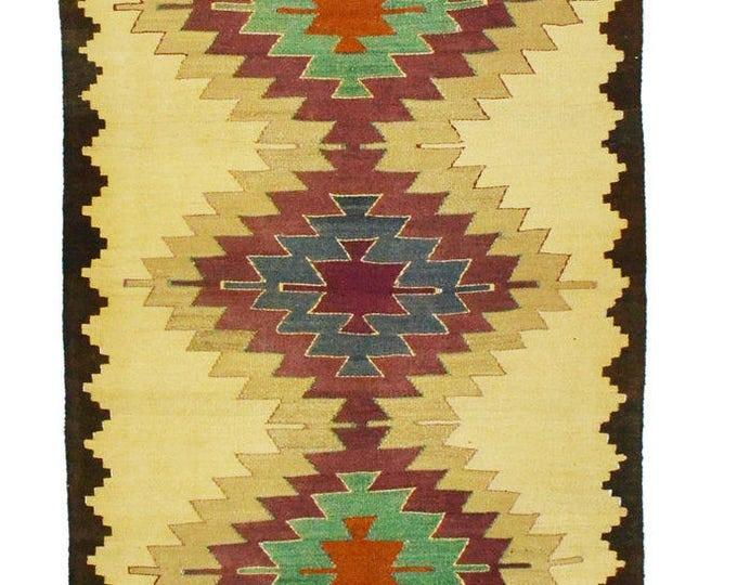 Free Shipping ** 151 cm x 95 cm/ 4,95 x 3,11 ft / VINTAGE OUSHAK RUG Kilim Rug Oushak Rug Hand Woven Turkish Rug Vintage Mut Kilim Rug